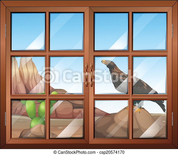 Illustration of a closed window with a view of the bird at