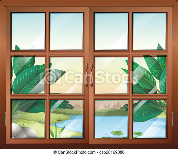 A closed window with a view of the pond - csp20169086