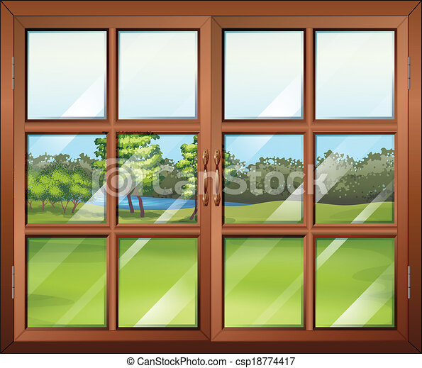 Illustration of a closed wooden window with glass vector clip art