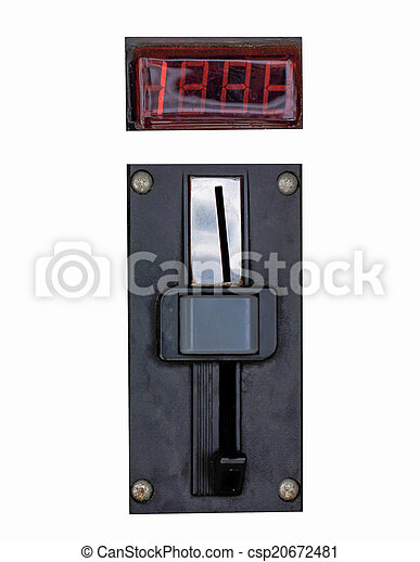 A closeup of a metal coin slot panel from a coin operated machine with entry and exit slots and button on an isolated background - csp20672481