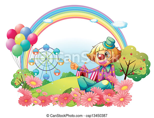 A clown in the carnival with a garden - csp13450387