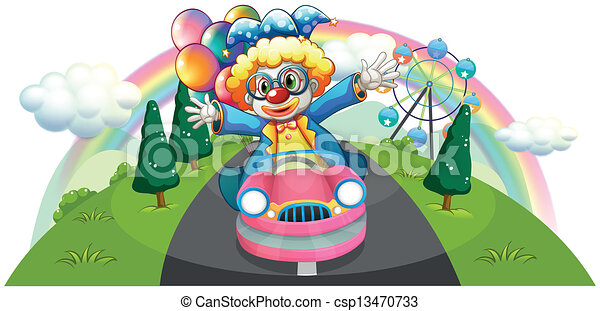 A clown riding in a pink car with balloons - csp13470733