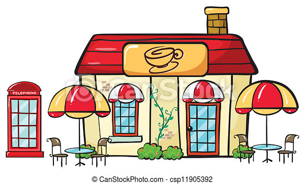 Illustration Of A Coffee Shop On A White Background Eps