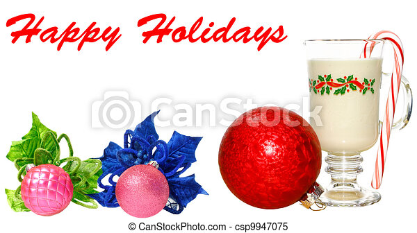 A cold glass of eggnog on white with a peppermint candy cane in it, a poinsettia flower and Christmas Balls with room for your text. - csp9947075