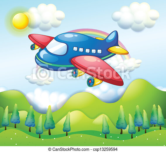 A colorful airplane above the hills - csp13259594