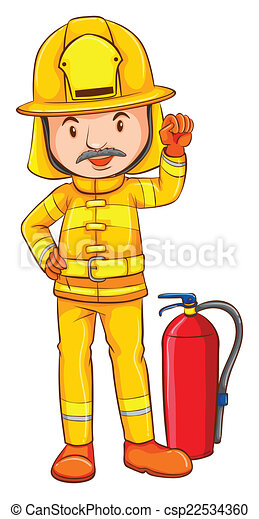A coloured drawing of a fireman - csp22534360