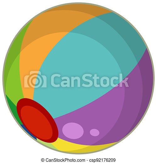 A colourful beach ball cartoon style isolated - csp92176209