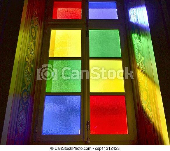 A colourful church window in Greec - csp11312423