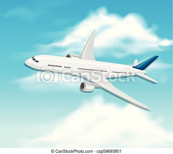 A commercial airplane on sky - csp59693801