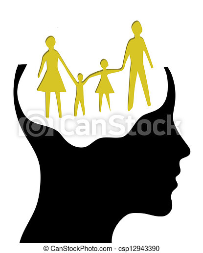 A concept for Dream family , where Thinking head silhouette   - csp12943390