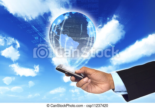 A concept of how a smart phone can connect a businessman to a worldwide information netwrok. - csp11237420