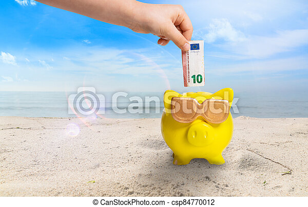 a Concept picture about save money for a holiday on the beach - csp84770012