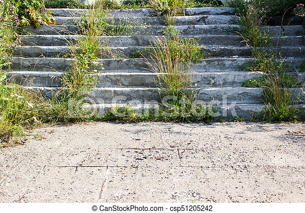 A concrete staircase with sprouted grass - csp51205242