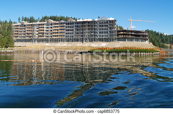 A Construction Site on the Shore of a Mountain Lake at Coeur d'Alene Idaho USA - csp6853775