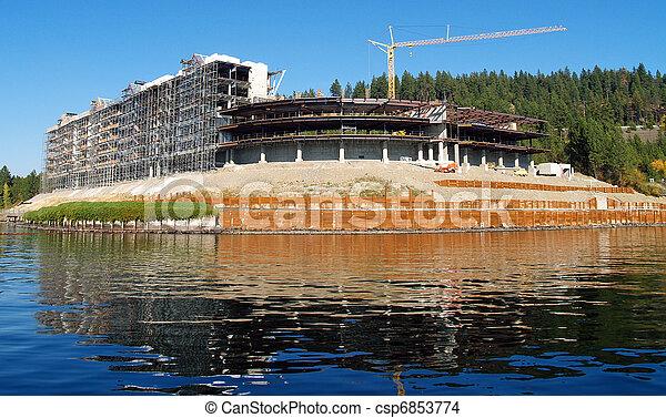 A Construction Site on the Shore of a Mountain Lake at Coeur d'Alene Idaho USA - csp6853774