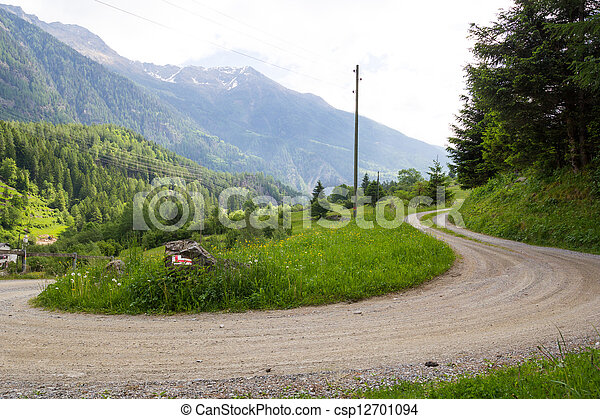 A country road in the Swiss Alps - csp12701094