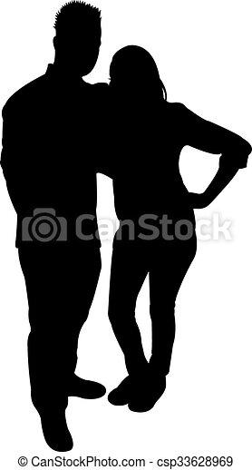 a couple body silhouette  - csp33628969