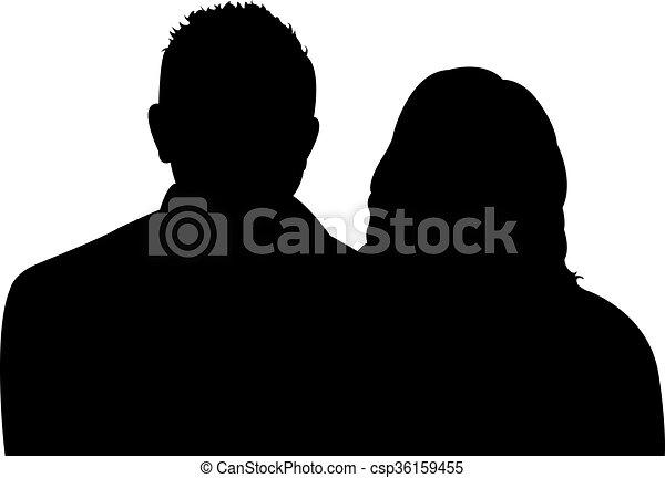 a couple body silhouette  - csp36159455