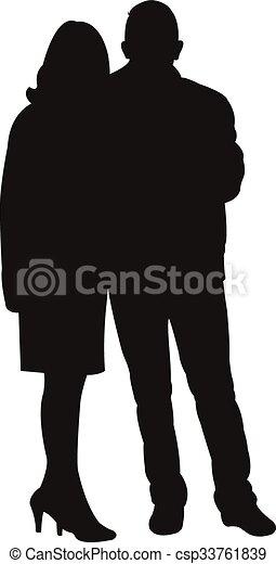 a couple body silhouette  - csp33761839