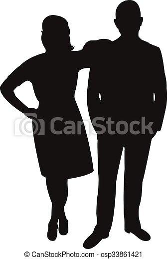 a couple body silhouette  - csp33861421
