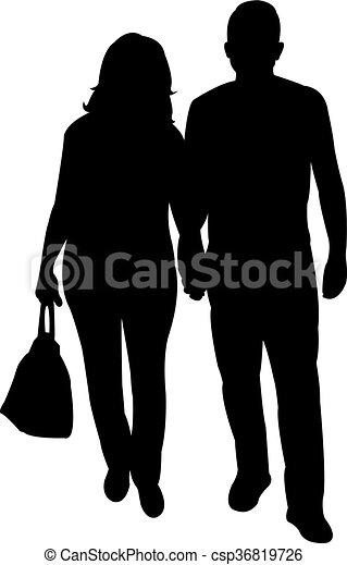 a couple body silhouette  - csp36819726