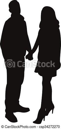a couple body silhouette - csp34272270