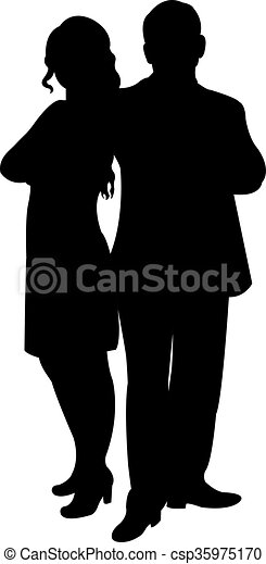 a couple body silhouette  - csp35975170