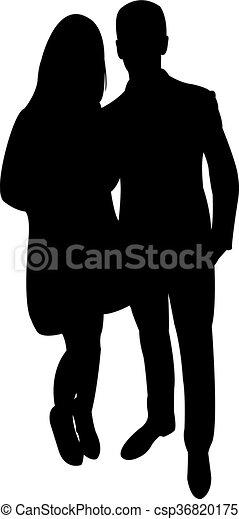 a couple body silhouette  - csp36820175