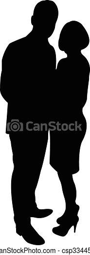 a couple body silhouette vector - csp33445268