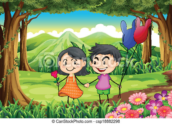 A couple dating at the jungle - csp18882298