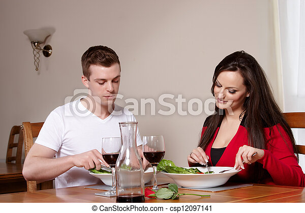 A couple in a restaurant  - csp12097141