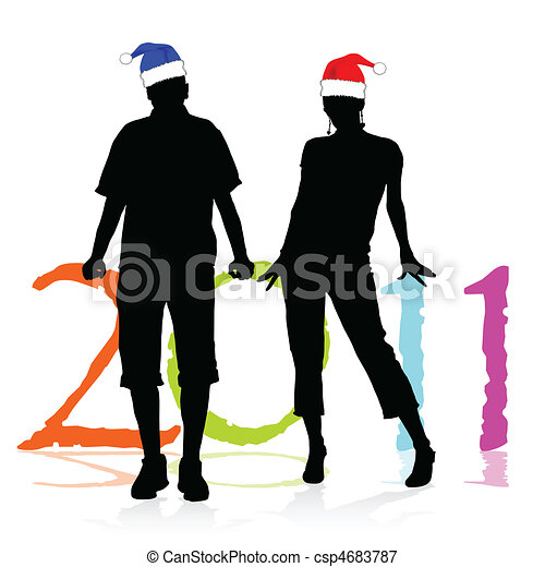 a couple of caps to new year vector - csp4683787