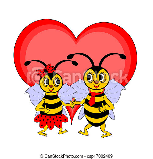 A couple of funny cartoon bees with a red heart - csp17002409