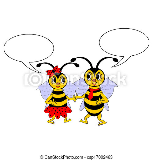 A couple of funny cartoon bees with chatting bubbles - csp17002463