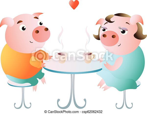 A couple of pigs on a date in a cafe. - csp62062432
