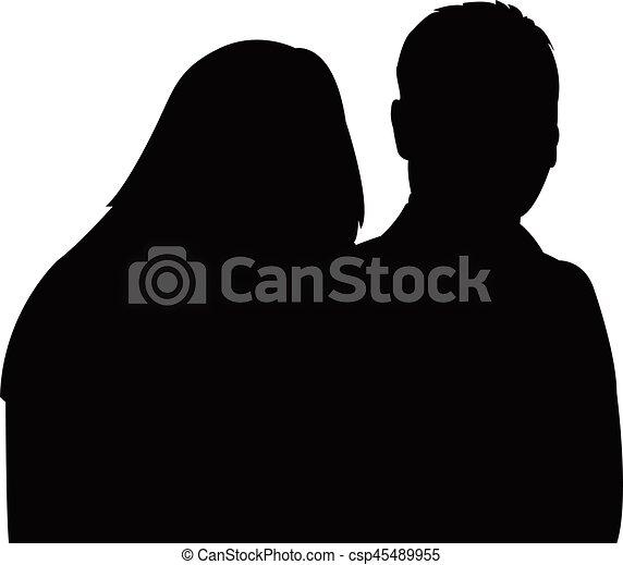 a couple , silhouette - csp45489955