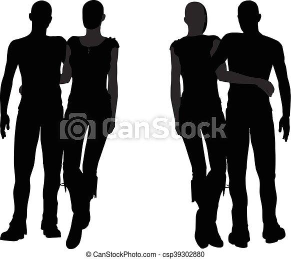 a couple silhouette - csp39302880