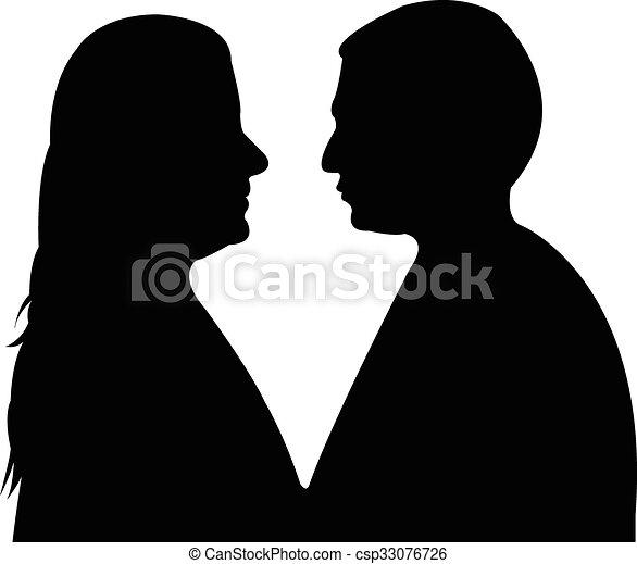 a couple silhouette  - csp33076726