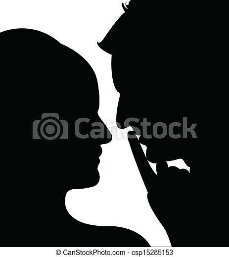 a couple silhouette vector  - csp15285153