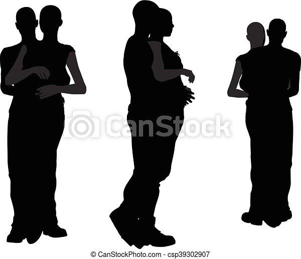 a couple silhouette - csp39302907