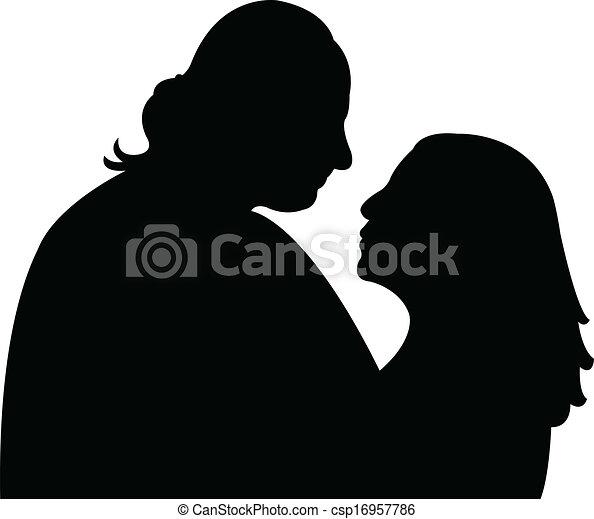a couple silhouette vector  - csp16957786