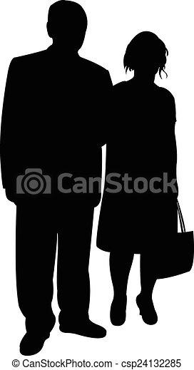 a couple silhouette vector  - csp24132285