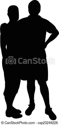 a couple, silhouette vector  - csp23249226