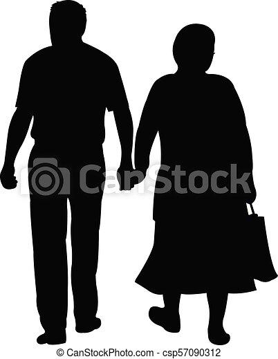 a couple walking, silhouette vector - csp57090312