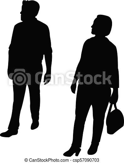 a couple walking, silhouette vector - csp57090703