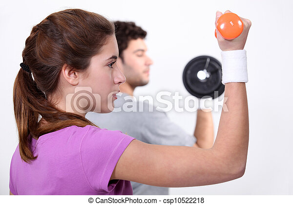 A couple working out. - csp10522218