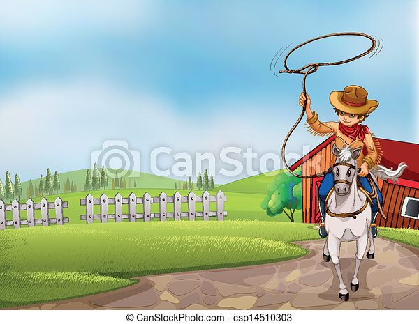 A cowboy holding a rope riding on a horse  - csp14510303