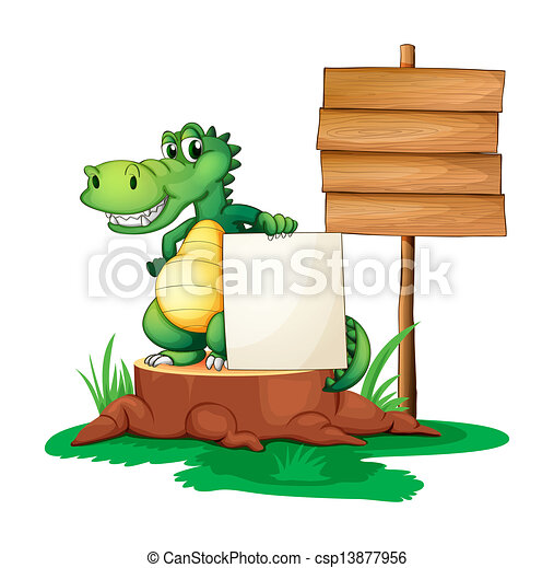 A crocodile beside the empty signages - csp13877956