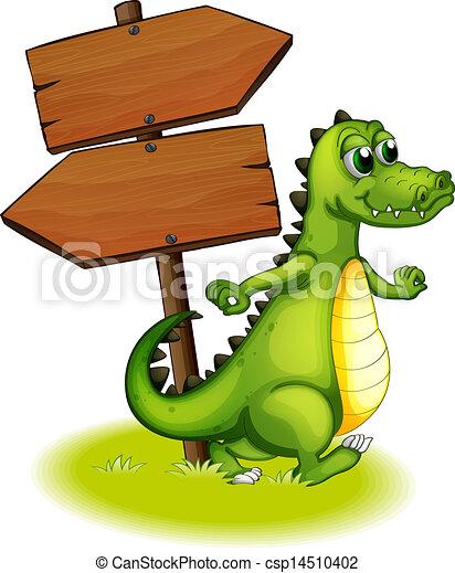 A crocodile beside the wooden empty arrowboard - csp14510402