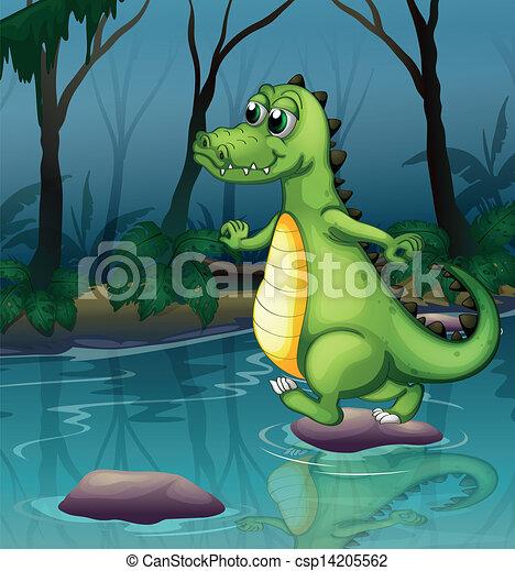 A crocodile crossing the pond - csp14205562